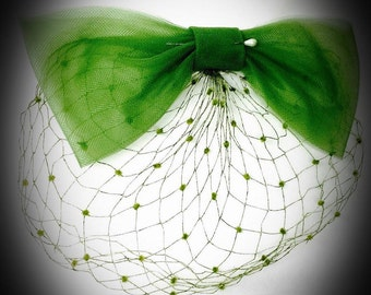 vintage I. Offell San Francisco blusher veil oversized green bow with veil