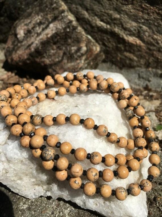 Grain Stone & Black Spinel Wrap Necklace