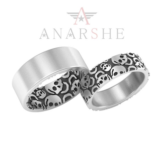 Skull Wedding Band Ring Set in Sterling Silver by ShopAnarshe