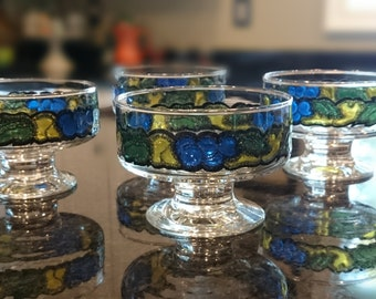 Vintage Stained Glass Coupes/ Sherbert Glasses/ Blue and Yellow Fruit/ West Virginia Glass Company