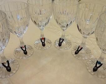 Black Tie Macrame Wine Charms
