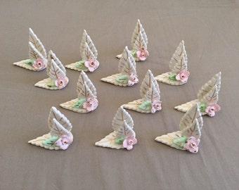Vintage Set of Twelve Rose Leaf Placecard Holders