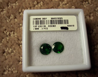 Round Chrome Diopside 2 pieces 2.42 ct for both