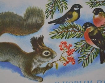 Unsigned Happy New Year/Christmas vintage postcard, Squirrel, Russian Christmas postcard, Soviet 1980s postcard, Christmas illustration