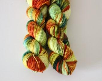 OOAK 2 - Ballpoint Sock 80/20 superwash merino nylon hand dyed speckled variegated yarn - 400 yards