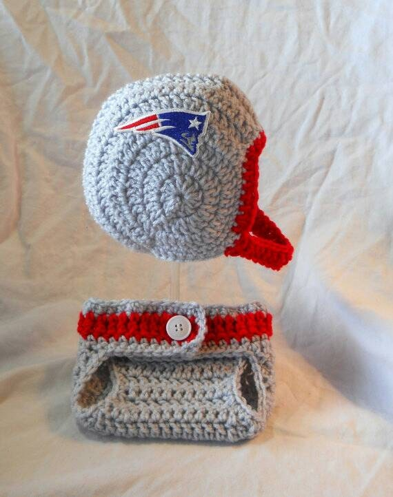 Free Crochet Pattern Football Diaper Cover : Patriots Inspired Crochet Baby Football Helmet Hat with