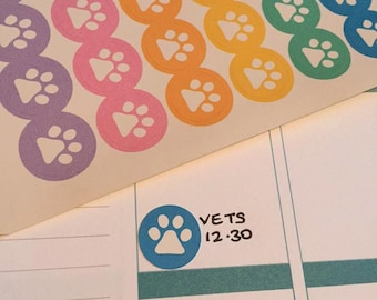 56 rainbow pet paw print planner dot stickers - vets groomers flea litter happy planner cat dog