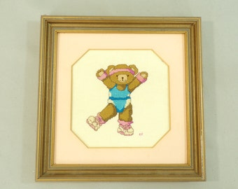 80s  Aerobic Bear Cross Stitch, 1980s Cross Stitch, Dancing Bear, Exercise Bear, Framed Cross Stitch, Retro Exercise Bear, Workout Bear