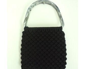 80s Black Macrame Hand made bag, Double Handle Black Bag, Hippy Bag, Boho Purse, Minimalist Purse, Black Yarn Purse, Simple Purse, Macrame