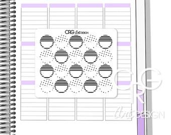 Stripes & Polka Dots Circle Stickers   Erin Condren Planner Filofax Sticker Plum Planner