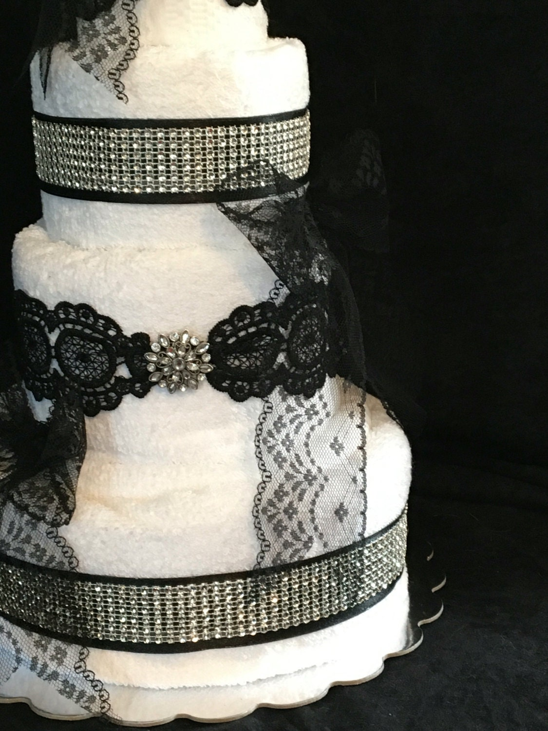 Black and White Elegant Towel Cake with rhinestones and lace