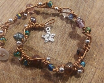 "Beaded beach anklet with ""Just for you"" star charm"