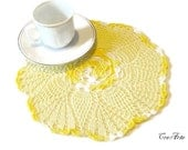 Crochet Yellow Doily,Small Doily, Handmade Doily, Round Doily, Table decorations, Centrino piccolo giallo (Cod. 59)