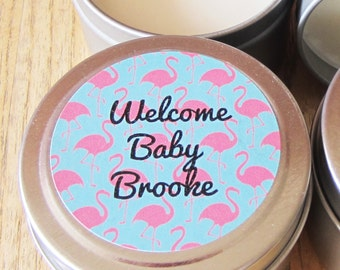 Scented Soy Candle Metal Tins 4 oz Set of 10 with Customized Labels : Baby Shower Favors - Candle Tin Labels - Candle Favors-Custom Labels