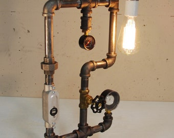 Steam Punk Lamp with USB Charger and Clock