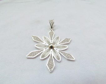 SALE - Christmas Flower Pendant; Christmas Star Pendant; Holiday Jewelry; Christmas Spirit; Classy Christmas Jewelry