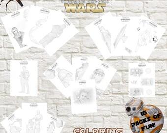 Instant Download Star Wars: Episode VII-The Force Awakens Coloring Printable Bundle, Force Awakens Coloring Pages, #forceawakensparty