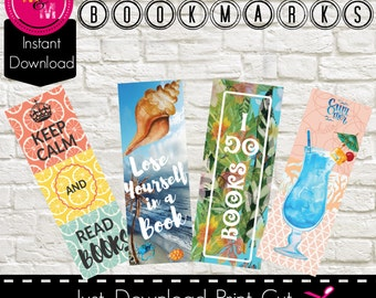 """Summer Themed Digital Bookmarks Printable-Set of 4 -Instant Download – 6.5""""x 2.5"""" size, AD3376"""