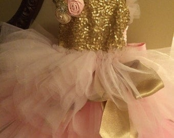 Pink and Gold Dress, Flower Girl Dress, Birthday Dress, Tutu Dress, Photo Prop