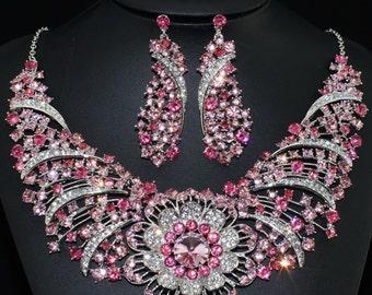 Rhinestone Necklace Set, Bridal Statement Necklace, Statement Necklace Pink, Chunky Necklace, Bib Necklace Statement, Pink Necklace