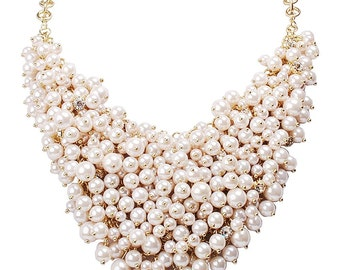 Chunky Pearl Necklace, Pearl Bib Necklace, Bridal Statement Necklace, Pearl Statement Necklace, Wedding Necklace Bridal Jewelry