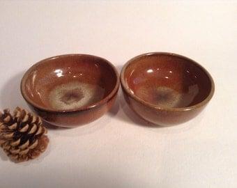 Two-Tone, Wheel-Thrown Pottery Pinch Bowl Set