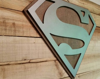 """Superman Sign With Dark Maple Backdrop Metal Style Sign  MDF Board Cut Out Logo With Faux Metal Finish Reclaimed Pallet Wood 43""""x19"""""""