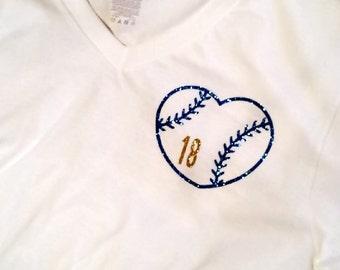 Baseball Shirt - Jersey Shirt - Baseball Jersey - Baseball Heart Shirt - Baseball Girlfriend Shirt - Last Name Shirt - Baseball Heart