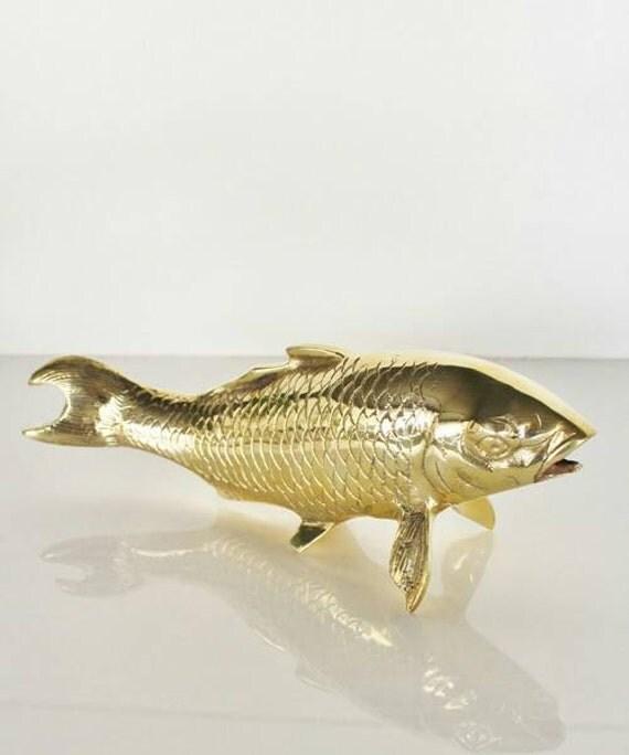Huge koi fish brass statue hollywood regency by for Huge koi fish