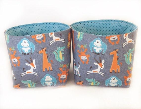 Safari animals fabric storage baskets nursery by for Safari fabric for nursery