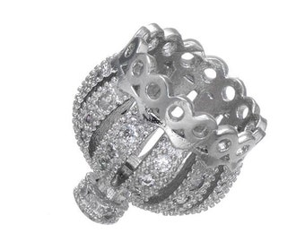 1 Pave Silver Crown Bead Cubic Zirconia 13mm x 13mm -6W