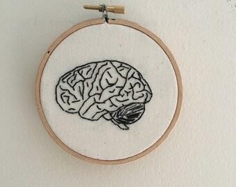 Brain, human brain hand embroidery