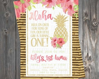 Floral Luau Invitation