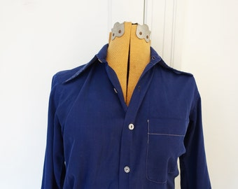 Blue pajama style button-down top