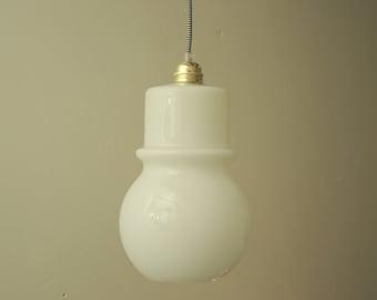 Pendant light - vintage white glass pendant lighting - brass - pendant glass lamp - modern lighting - industrial lighting - white #RH-GP0013