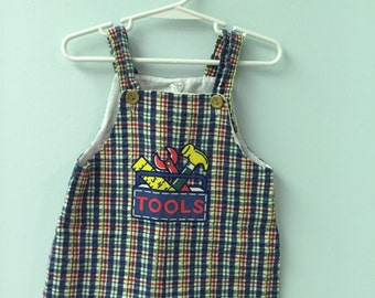 2T, Vintage Classic Baby Clothes, Plaid Jon Jon Shortall with Tool Chest