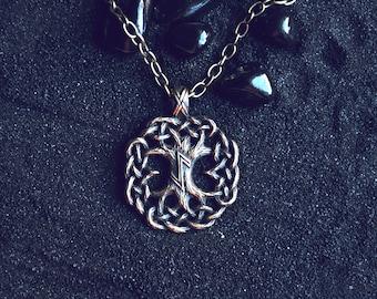 Yggdrasil (2) World Tree Tree of life Norse pendant Viking Mascot Pagan Jewelry Rune Eihwaz Futhark: Bronze Handmade Pendant with chain