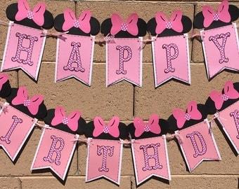 Minnie Mouse Birthday Banner, Happy Birthday, Happy 1st Birthday