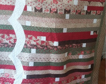 Handmade Lap Size Quilt-colorful multi floral