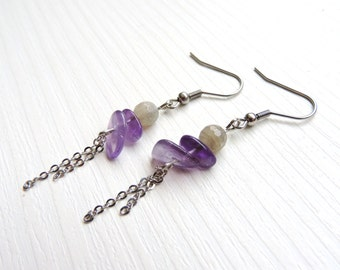 Amethyst Earrings, Labradorite earrings, faceted bead, purple, bohemian, surgical steel