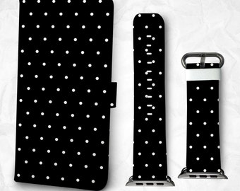Gift Set iPhone case and Apple Watch Band 38mm 42mm dot pattern iPhone 7 iPhone 7 Plus iPhone 6/6s plus iPhone 5S iPhone 4S case (BBSG-013)