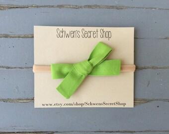 Hand tied bow, baby girl bow, baby girl headband, nylon headband, baby bow headband, infant headband, baby headband, green baby bow