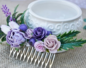Purple and lilac Bridal Hair Comb, Flower hair Comb, Floral Wedding Hair Accessories,Bridesmaids Gift.
