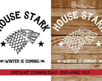 House Stark winter is coming clipart ,T shirt, iron on , sticker, Vectors files