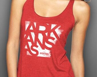 Arkansas Typography Blended Tank Top