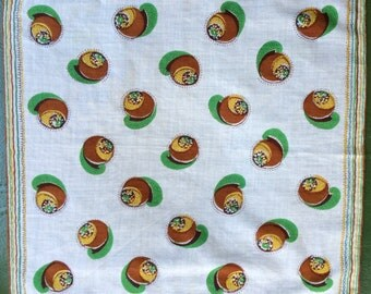 Vintage Hanky In Greens And Browns