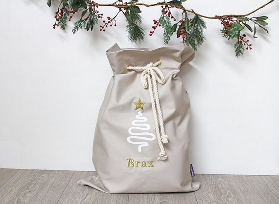 Personalised Santa Sack in Stone with Christmas Tree and Gold Star, Christmas Sack, Christmas Bag, Christmas Decor for Kids