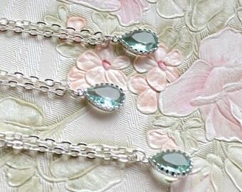 Mint bridesmaid necklace set of 2 two Erinite necklace drop pendant Mint Jewelry Mint Necklace Pastel blue necklace Erinitie wedding gift