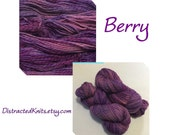 Hand Dyed Yarn, Hand Painted Yarn, DK, Tweed, Marl, Merino, Color: Berry