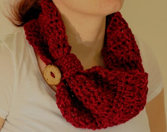 Crochet Red Button Scarf
